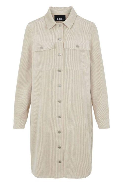 Pieces - Kjole - Effi LS Shirt Dress - White Pepper