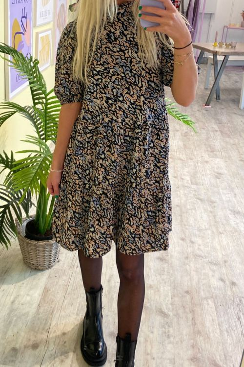 Pieces - kjole - PC Faye 2/4 Dress - Black/Animal