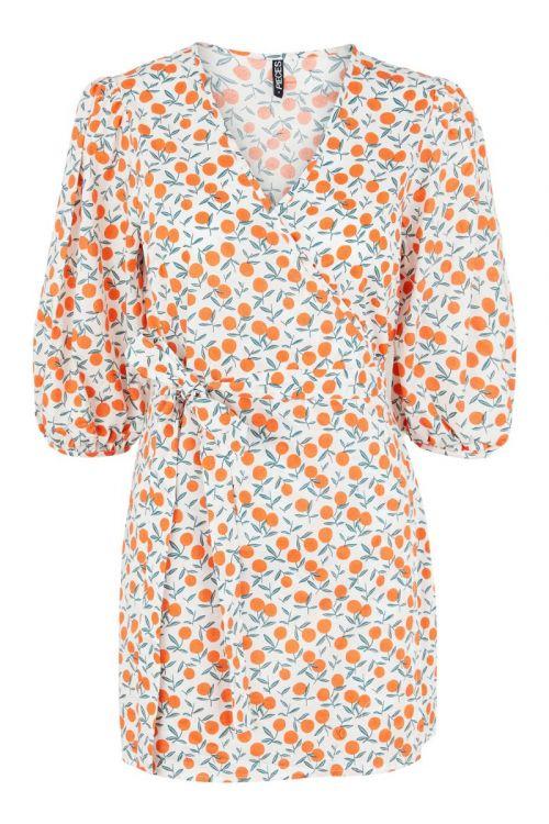 Pieces - Kjole - PC Fruit 2/4 Wrap Dress - Bright White