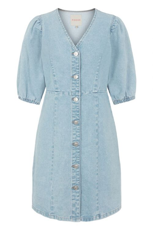 Pieces - Kjole - PC Gili SS V-Neck Coloured Denim Dress - Light Blue Denim
