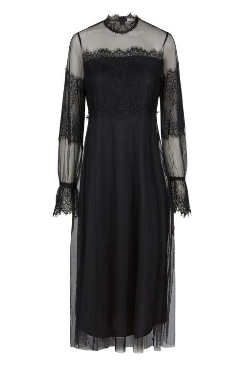 Pieces Kjole Jannie LS Dress Black Front