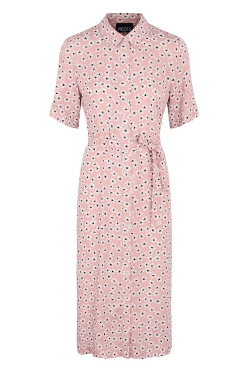 Pieces - Kjole - PC Maiken SS Midi Shirt Dress - English Rose
