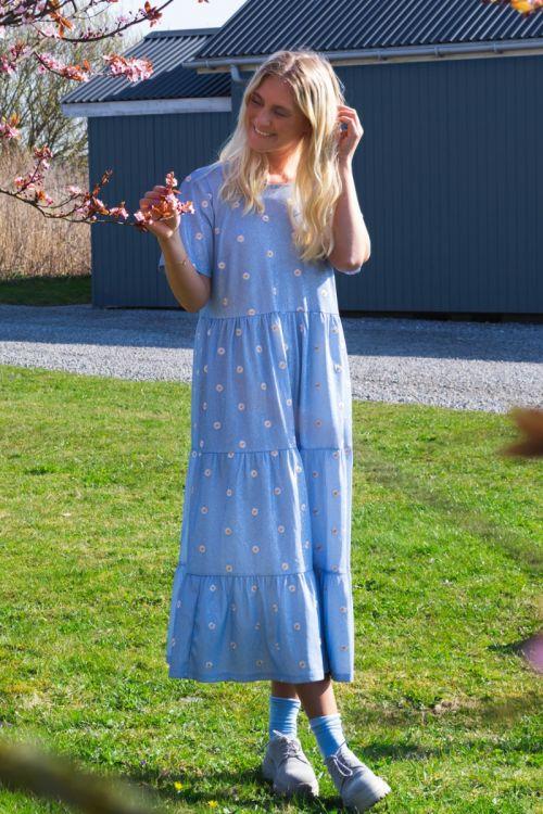 Pieces Kjole SS Midi Dress Blue Fog Front
