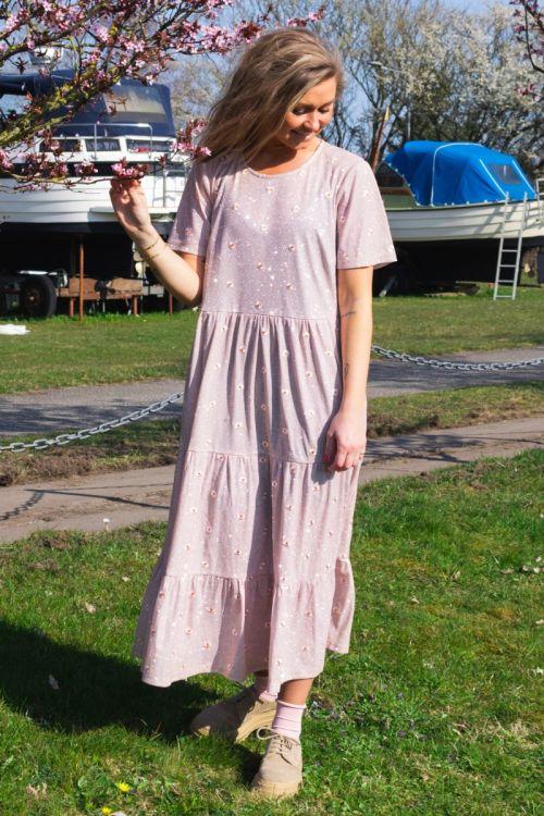 Pieces Kjole SS Midi Dress Misty Rose Front