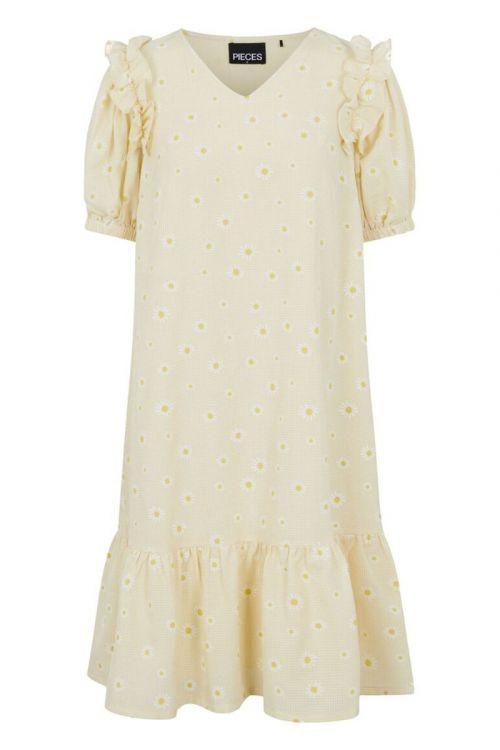 Pieces - Kjole - PC Miral 2/4 Dress - Pale Banana
