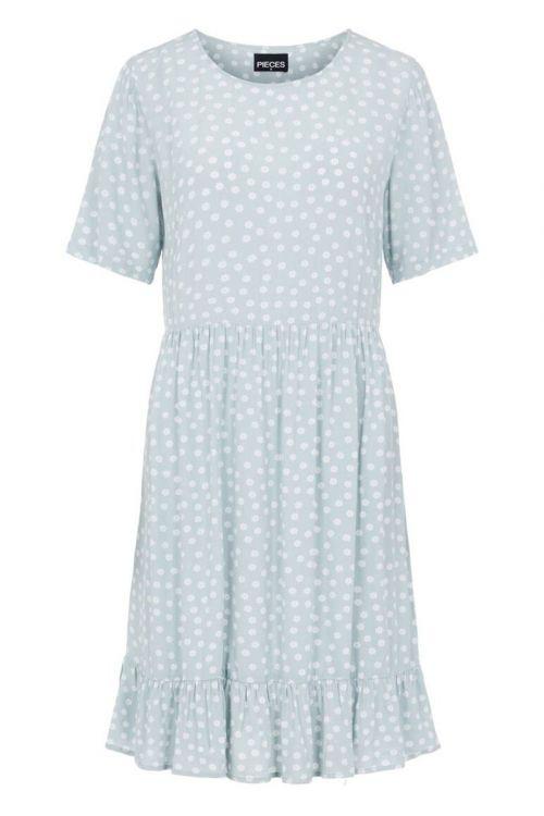 Pieces Kjole Selma SS Dress Blue Fog Front