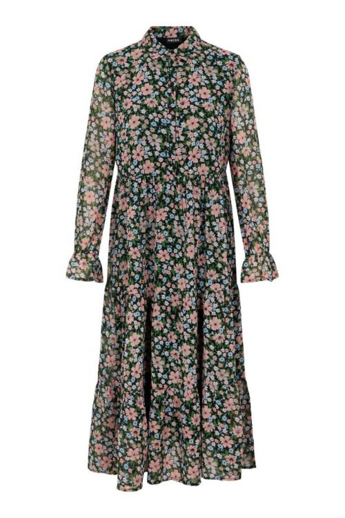 Pieces - Kjole - PC Viana LS Midi Dress - Black/Misty Rose Flowers