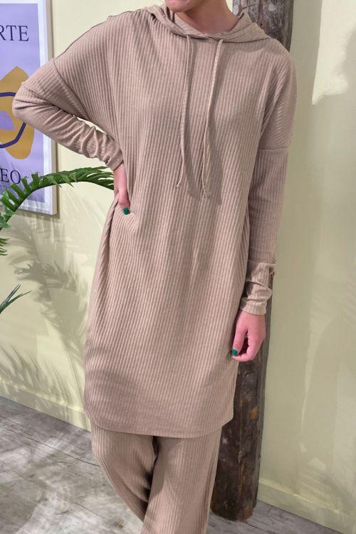 Pieces - Kjole - PC Ribbi LS Hoodie Dress - Warm Taupe