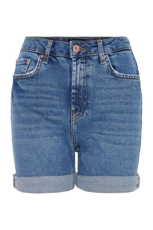 Pieces Shorts PC Leah Mom HW Shorts Medium Blue Denim Front