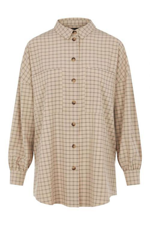 Pieces Skjorte Berta LS Oversized Shirt Birch Front