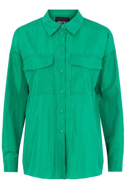 Pieces - Shirt - Napylla LS shirt - Forest Green (Levering i november)