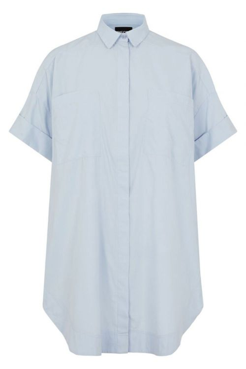 Pieces - Skjorte - PC Sillu SS Oversized Shirt - Kentucky Blue