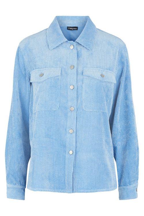 Pieces - Skjorte - PC Steffi LS Corduroy Shirt - Little Boy Blue