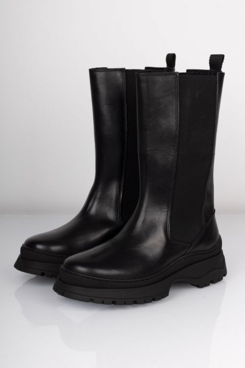 Pieces Støvler Seline Long Leather Boot Black Front