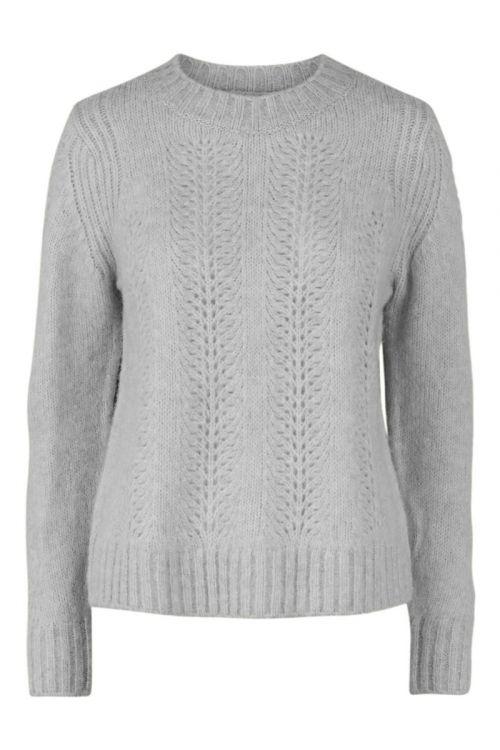 Pieces - Strik - PC Bibi LS Knit - Light Grey Melange