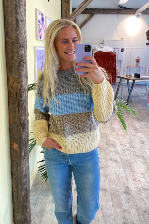 Pieces Strik PC Ena LS O-Neck Wool Chambray Blue Hover