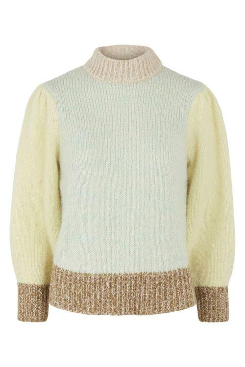 Pieces - Strik - PC Felisia 3/4 High Neck Wool Knit - Pastel Green