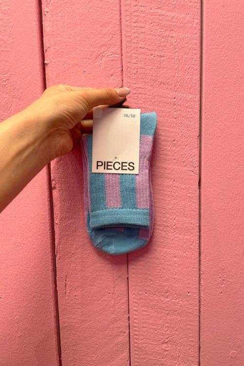 Pieces - Strømper - PC Jorts Stripe Long Sock - Sheer Lilac/Blue