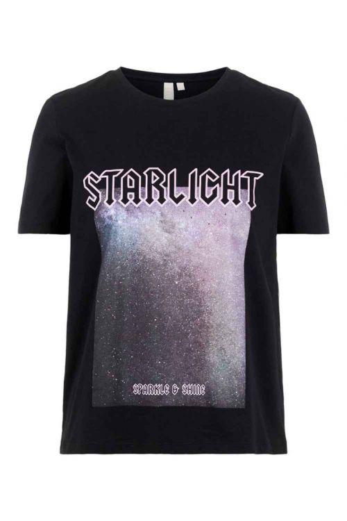 Pieces T-shirt PC Drea SS Tee Black/Starlight Front