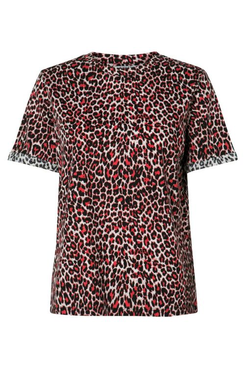 Pieces - T-shirt - PC Tia SS Tee - High Risk Red/Leopard
