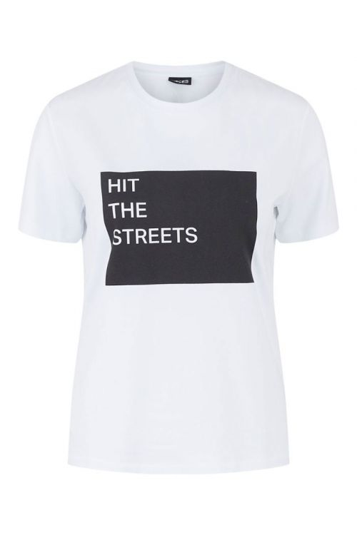 Pieces - T-Shirt - Street SS Tee - Bright White/Black
