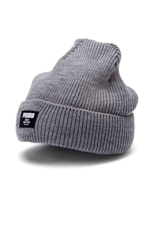 Puma Hue Ribbed Classic Beanie Medium Gray Front