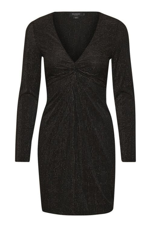 Soaked In Luxury Kjole Mya Dress LS Black Lurex With Black Front