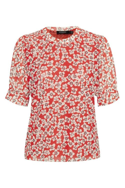 Soaked In Luxury T-shirt Aldora Top Tangerine Tango Flower Print Front