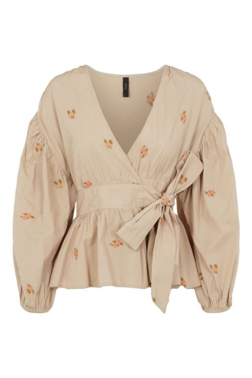 Y.A.S - bluse - Ovi LS Wrap Top - Nomad