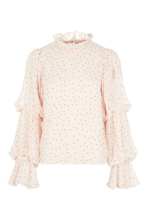 Y.A.S Bluse Troya LS Top Whisper Pink/Black Dots Front