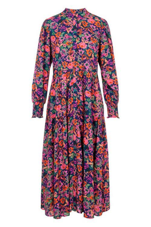 Y.A.S - Kjole - Alira LS Long Dress - Navy Peony/Alira