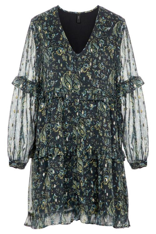 Y.A.S Kjole Blooma LS Dress Black Olive/Blooma Print Front