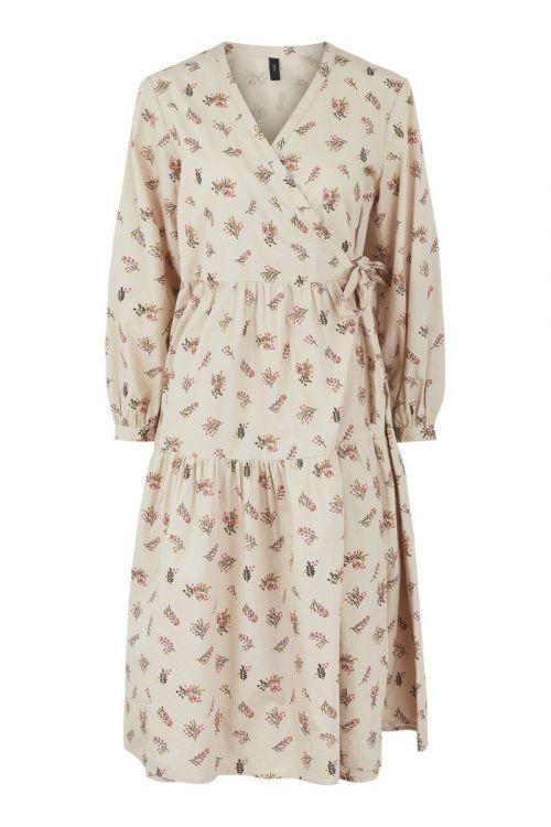 Y.A.S Kjole Cutie 3/4 Midi Wrap Dress Moonlight Front