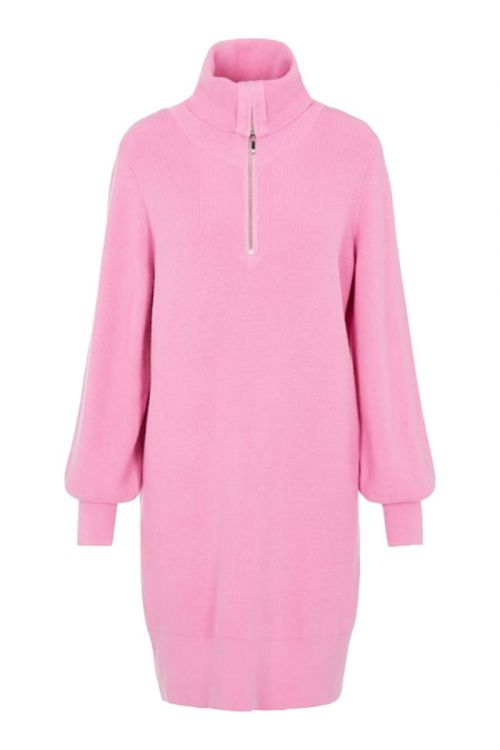 Y.A.S - Kjole - Dalma LS Zip Knit Dress - Fuchsia Pink
