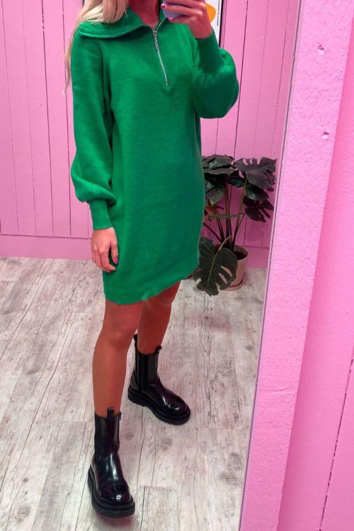 Y.A.S - Kjole - Dalma LS Zip Knit Dress - Jelly Bean