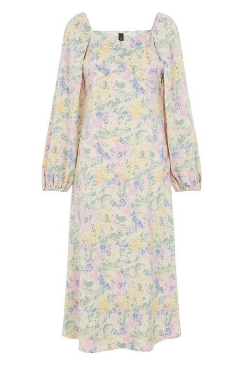 Y.A.S Kjole Dottea 7/8 Midi Dress Gardenia Front