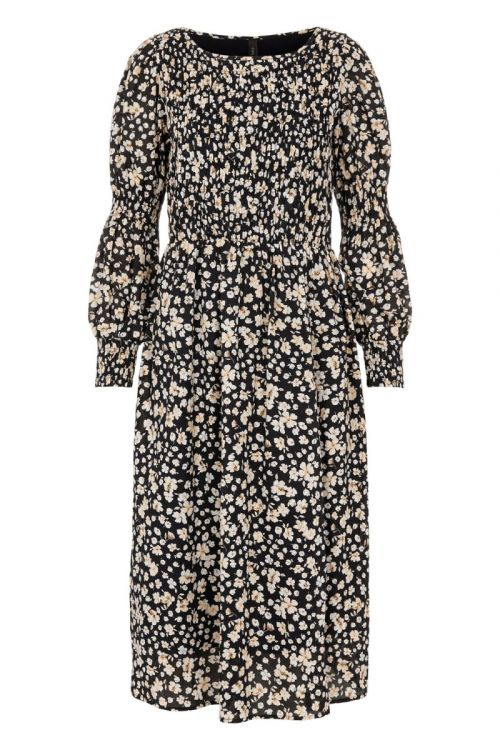 Y.A.S - Kjole - Emalla LS Smock Midi Dress - Black