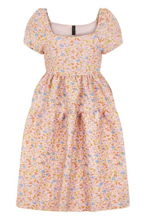 Y.A.S Kjole Livina Puff Sleeve Dress Peach Melba Hover