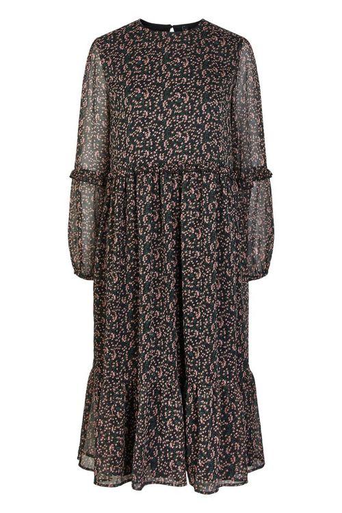 Y.A.S Kjole Mira LS Midi Dress Black/Mira Print Front