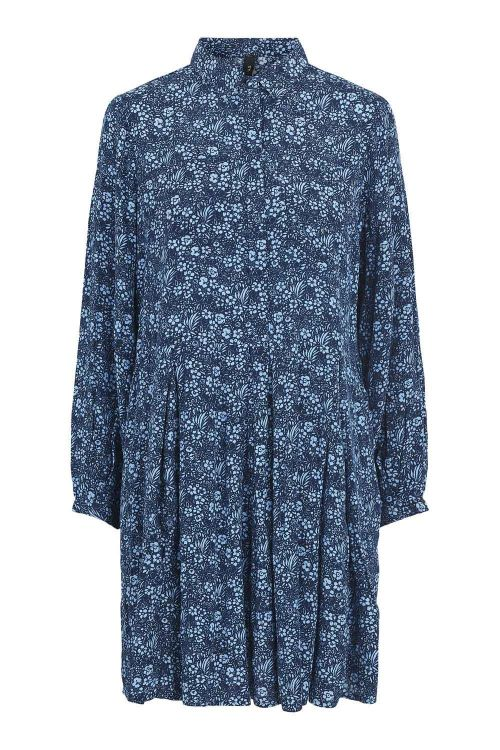 Y.A.S Kjole Piccolina LS Dress Sky Captain/Piccolina Front