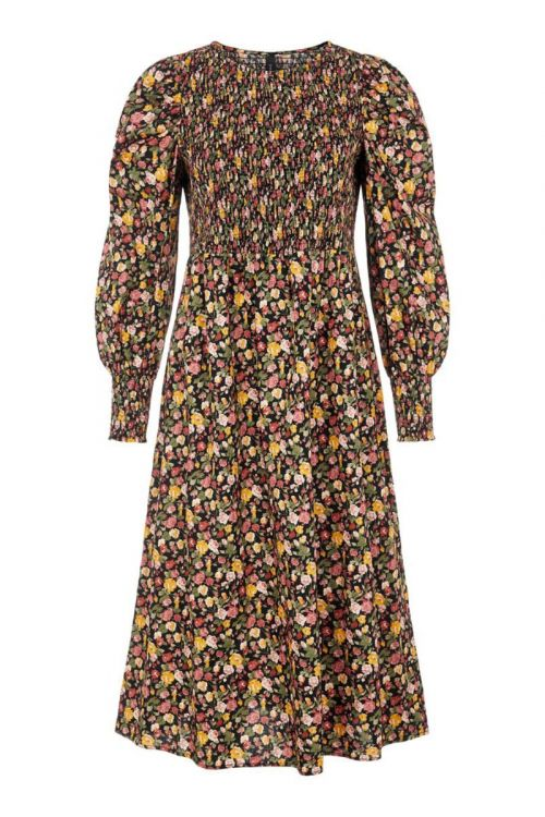 Y.A.S Kjole Rosalia LS Smock Dress  Black Front