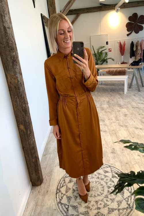 Y.A.S Kjole Verdi 7/8 Dress Pumpkin Spice Front