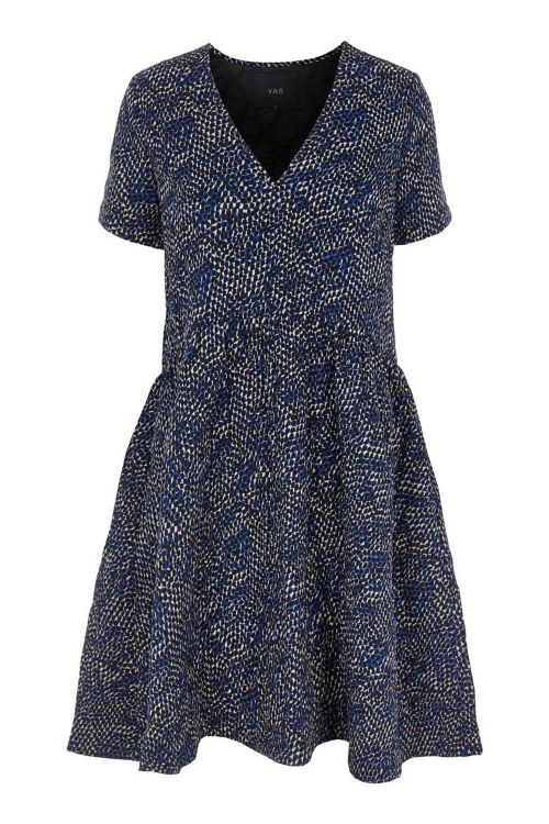 Y.A.S Kjole Vicci SS Dress Twilight Blue/Vicci Print Front1