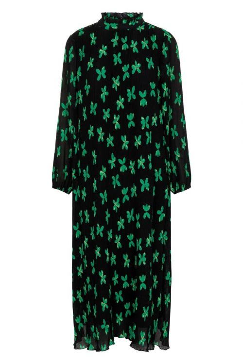 Y.A.S Kjole YAS PI LS Midi Dress S. Black/Green Flower Front