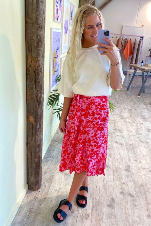 Y.A.S - Nederdel - Sanna Anna HW Midi Wrap Skirt - Fuchsia Pink