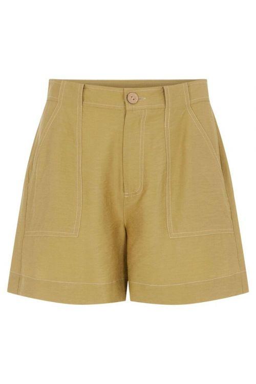 Y.A.S - Shorts - Leno HW Shorts - Khaki
