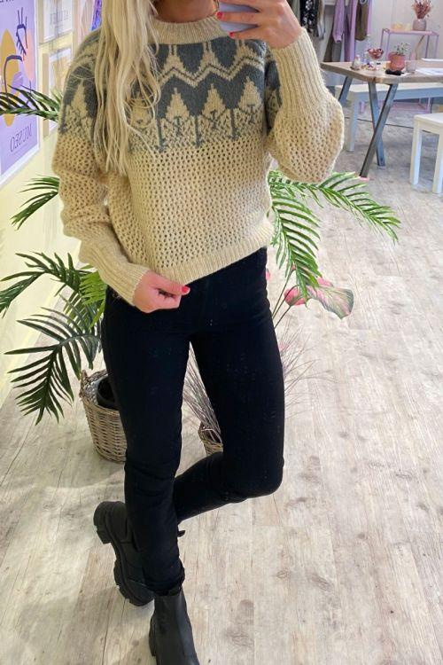 Y.A.S - Strik - Vera LS Knit Pullover - Creme/Sedona Sage