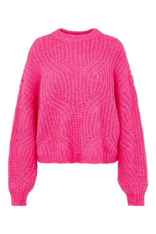 Y.A.S Strik Verona LS Knit Pullover Fandango Pink Front