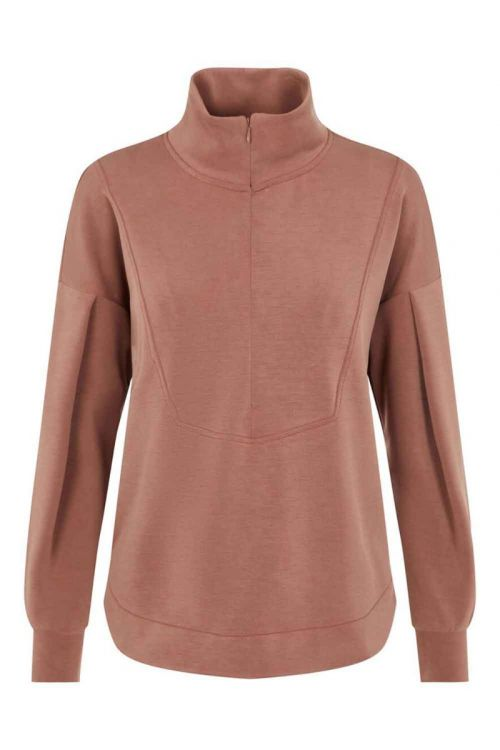 Y.A.S Sweat Como LS Long Zip Sweat Cognac Front
