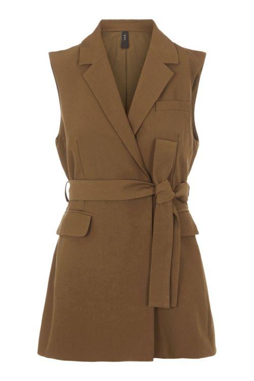 Y.A.S Vest Carla Belt Waistcoat Beech Front